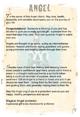Angel charm information card