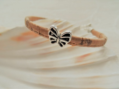 Cork butterfly bracelet