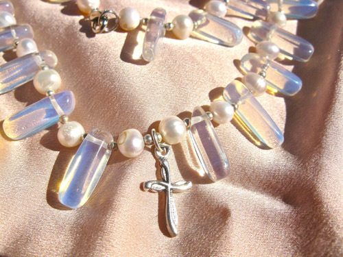 Moonstone necklace with cross