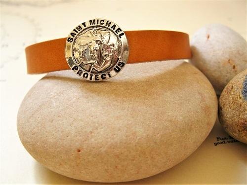 St Michael bracelet- leather