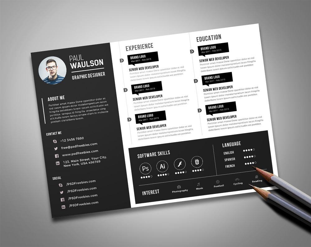 Free Black Landscape Resume CV Design Template PSD File Good Resume
