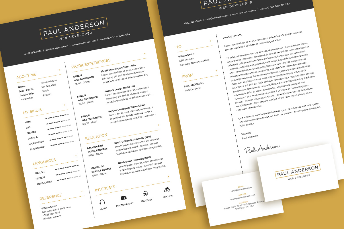 Free Minimal Resume Cv Design Template With Cover Letter