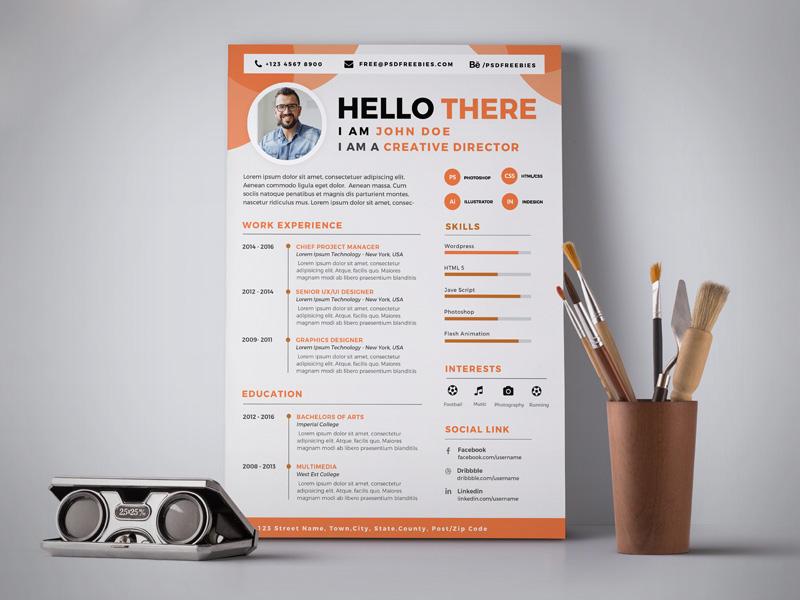 Free Professional Resume CV Design Template PSD Good Resume