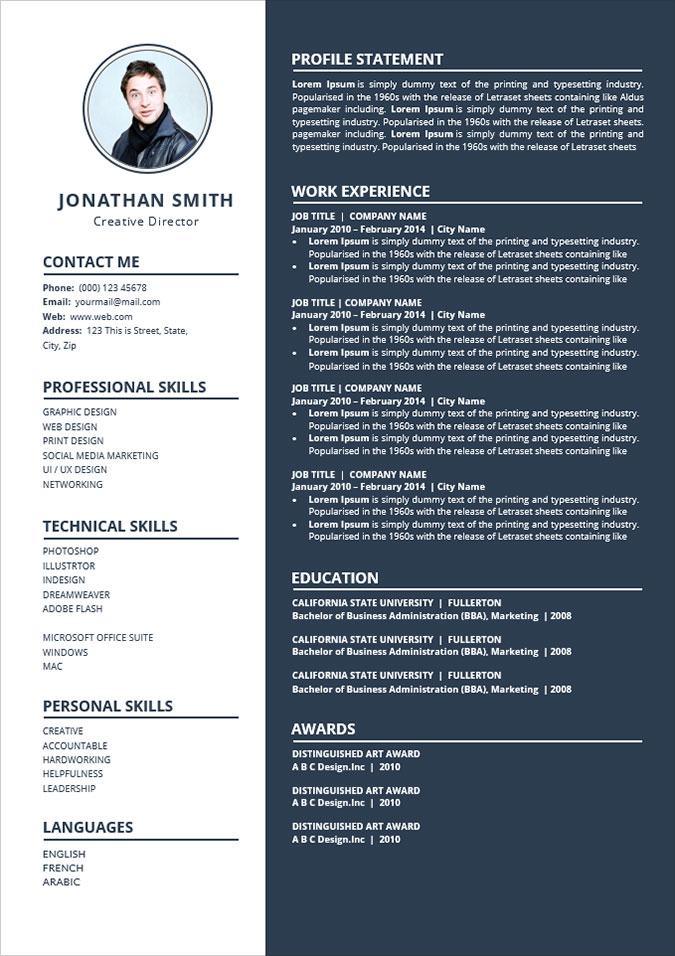 Free Simple To Edit Word Resume CV Template Good Resume