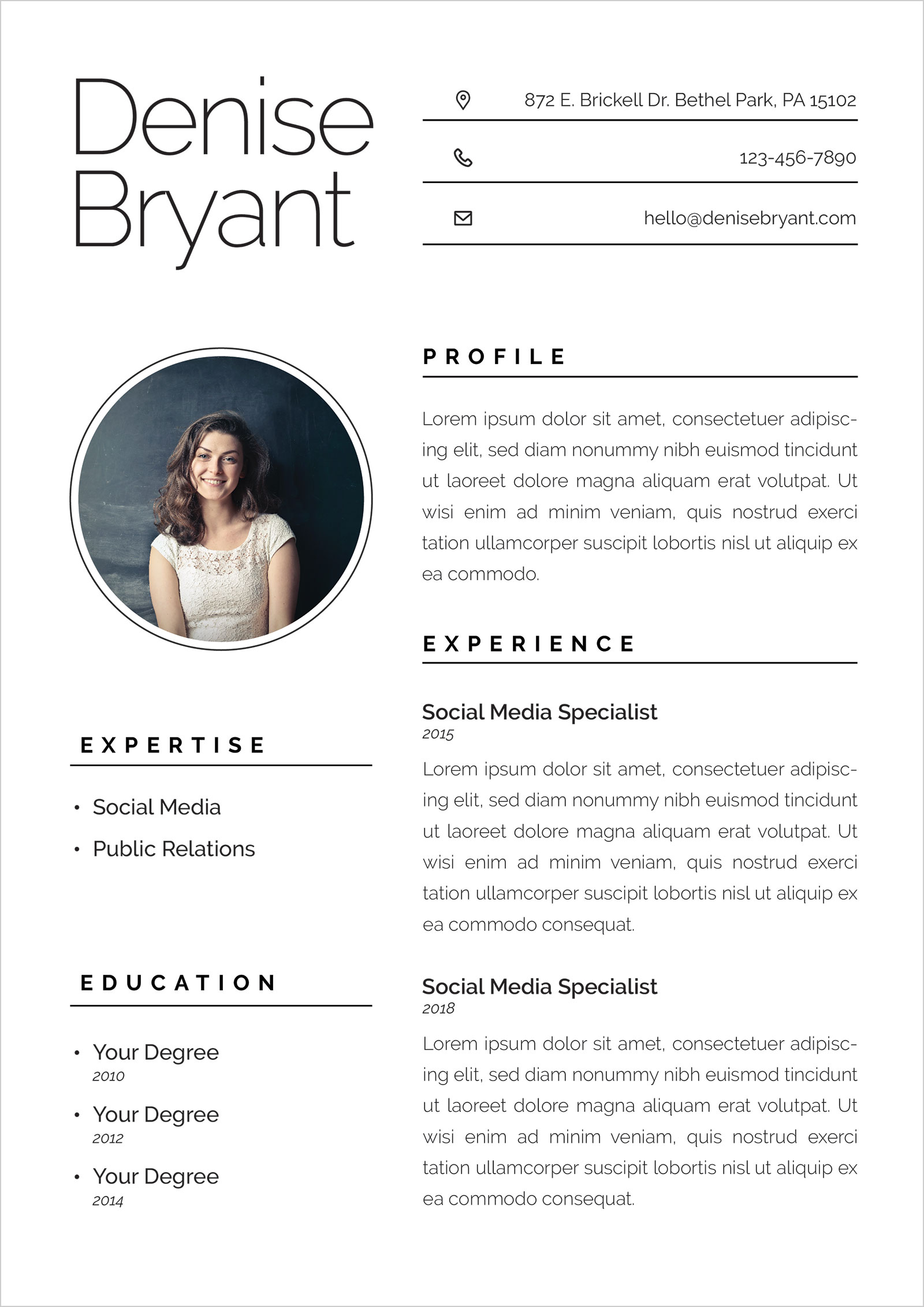 Free Ai Resume CV Format For Social Media Specialists Amp Public Relation Officers Good Resume