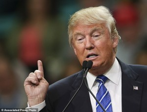 Republican presidential candidate Donald Trump gestures as he speaks at a campaign rally Friday, Feb. 5, 2016, in Florence, S.C. (AP Photo/John Bazemore)