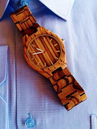 zebra bamboo watch