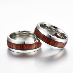 Steel and wood ring - silver colored