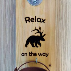 Wooden bottle opener 'Relax - beer o nthe way'