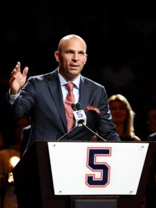Jason Kidd speaks during his jersey retirement ceremony before the preseason game agaisnt the Miami Heat at Barclays Center on October 17, 2013 in the Brooklyn borough of New York City. (Photo by Maddie Meyer/Getty Images)