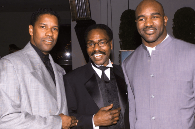 "Denzel Washington, Rubin ""Hurricane"" Carter and Evander Holyfield at 1999 premiere of ""Hurricane"""