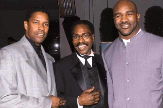 "Denzel Washington, Rubin ""Hurricane"" Carter and Evander Holyfield at 1999 premiere of ""Hurricane"""
