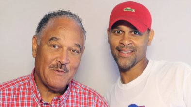 Wendell Scott's son Frank Scott (left) and grandson Warrick Scott at StoryCorps in Danville, Va. Wendell Scott, who died in 1990, was one of the first African-American NASCAR drivers to win a race at the elite level.