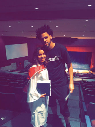 J. Cole and fan Cierra Bosarge at her graduation (Photo via Instagram)