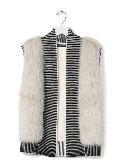 Faux-Fur Trim Open Sweater Vest - Banana Republic