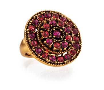 Oscar De La Renta Crystal Disc Ring, Pink