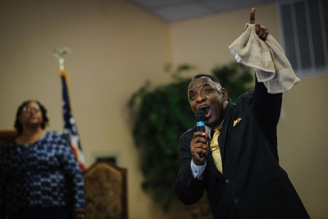 Reverend Larry H. Wright at Heal The Land Outreach Ministries in Fayetteville (photo by Andrew Craft)