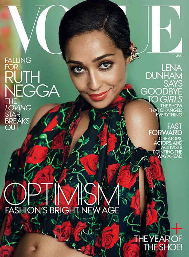 """Ruth Negga of """"Loving"""" on January 2017 cover of Vogue (photo via vogue.com)"""