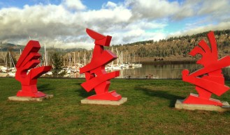I love the bold red color amid the natural hues of the river basin. I'm not sure why, but whenever I look at these three shapes, I see rabbits. Must be a rorschach thing. Artist: C. J. Rench