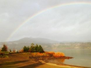 Extraordinary morning light graced with a full rainbow.
