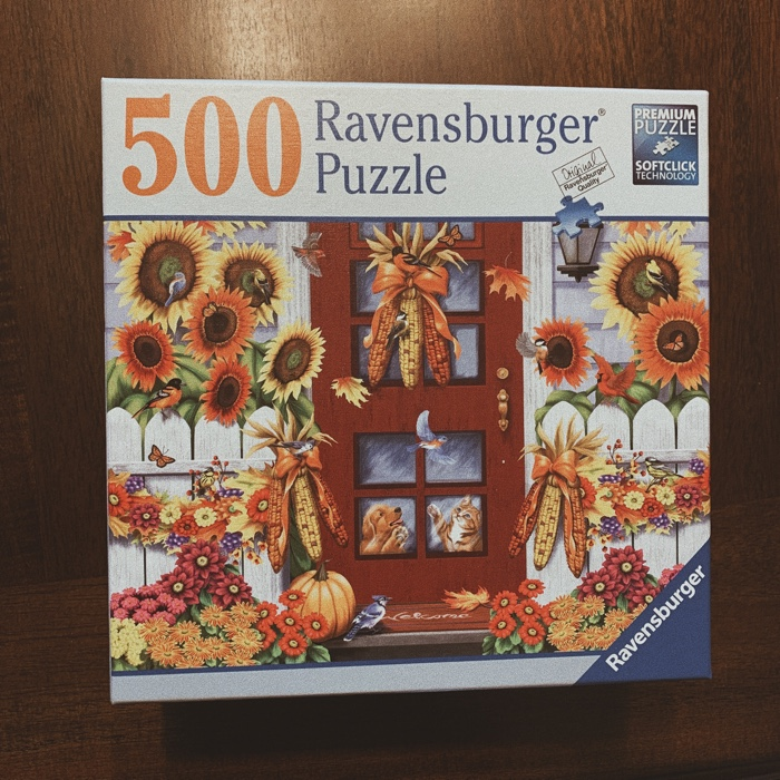 Complete One Puzzle. Don't ask me why but somehow I've decided we are going to be one of those families that are into puzzles. And I have this super cute puzzle that is fall themed that we got on sale at Barnes & Noble the other week.