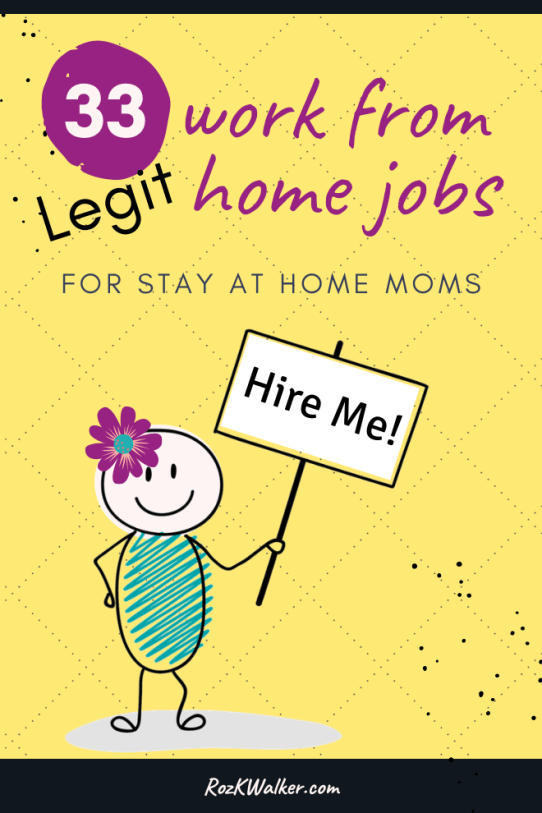 33 Legit Work from Home Jobs with woman holding sign that says Hire Me.