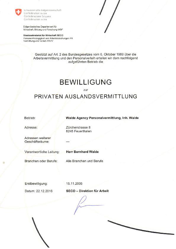 BEWILLIGUNG_SECO BERN_Walde Agency Feuerthalen