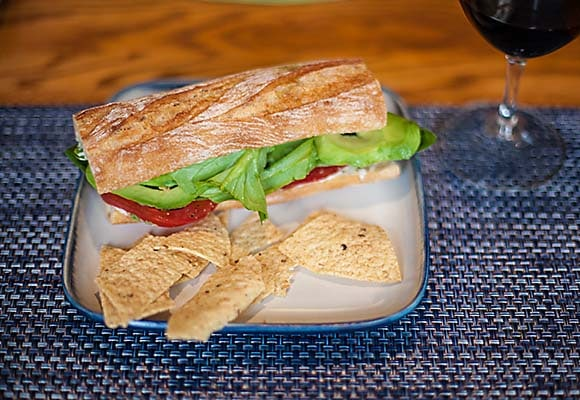 heirloom tomato avocado, basil sandwich