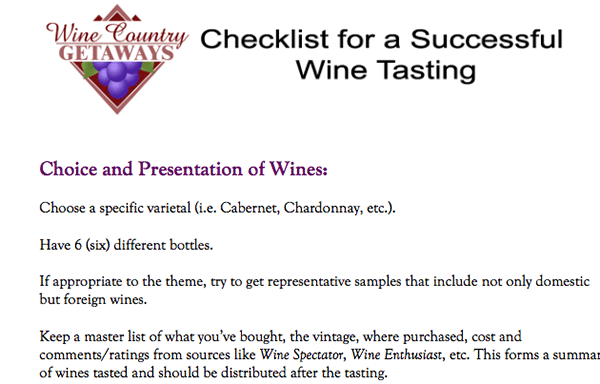 checklist for wine tasting party
