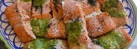 Costco Salmon Milano with Basil Pesto Butter
