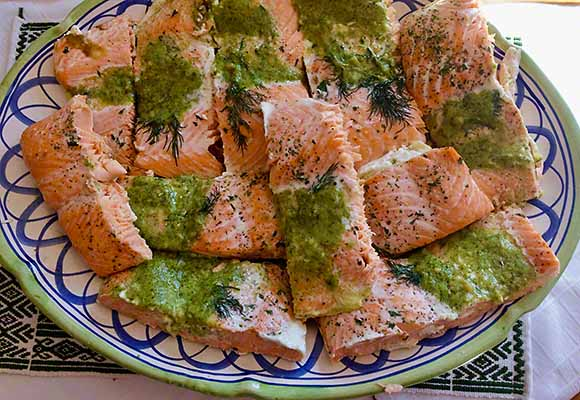 Costco Salmon Milano with Basil Pesto Butter