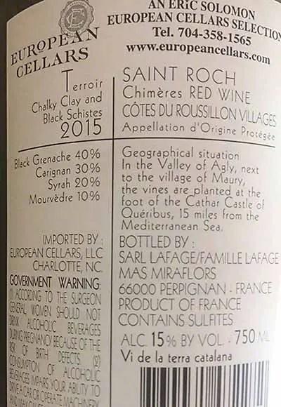Back label Saint-Roch Chimeres