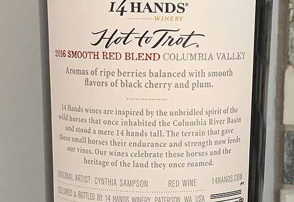 hot to trot red blend back label