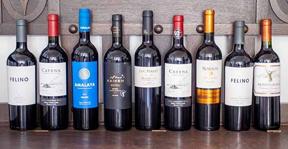 Beautiful assorted of red wines from Argentina and Chile