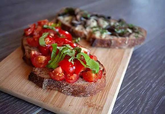 Tomato Bruschetta and the Mushroom Bruschetta