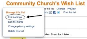 Amazon Wish List Settings