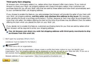 Amazon Wish List Tax Exempt Details