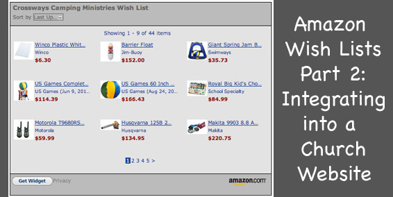 Amazon Wish Lists Pt 2 Integrating into a Church Website