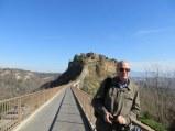The long bridge from Bagnoregio to Cività and my favorite co-pilot.