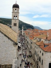 The Stradun in Dubrovnik as seen from atop the wall.