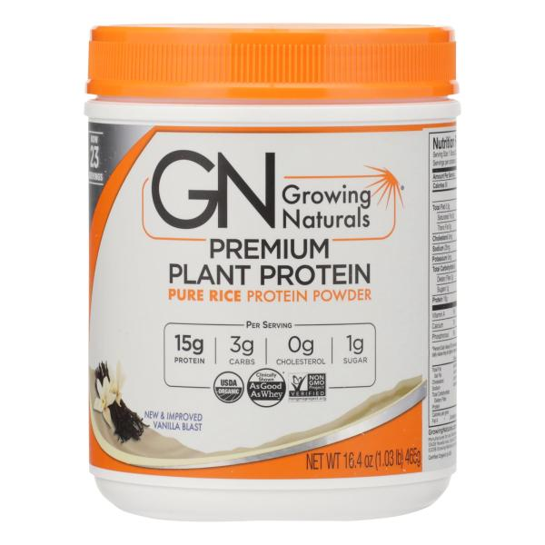 Growing Naturals Organic Raw Rice Protein - Vanilla Blast - 16.4 oz %count(alt)
