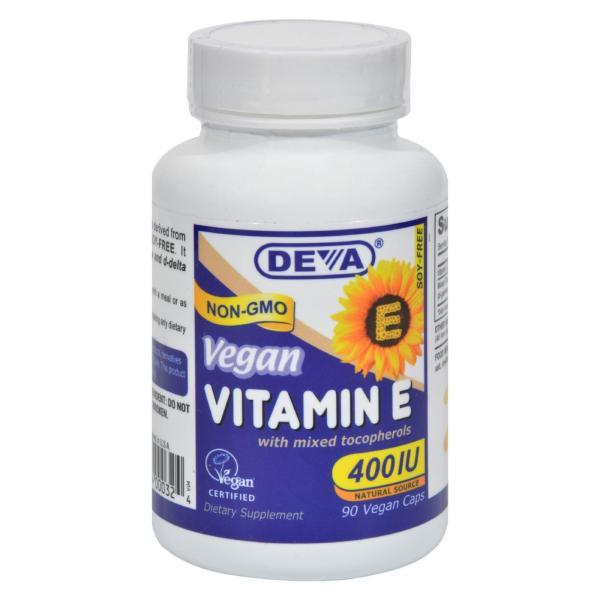 Deva Vegan Vitamins - Vitamin E with Mixed Tocopherols - 400 IU - 90 Vegan Capsules %count(alt)