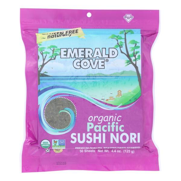Emerald Cove Organic Pacific Sushi Nori - Toasted - Silver Grade - 50 Sheets - Case of 4 %count(alt)