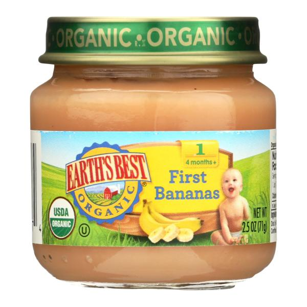 Earth's Best Organic First Bananas Baby Food - Stage 1 - Case of 12 - 2.5 oz. %count(alt)