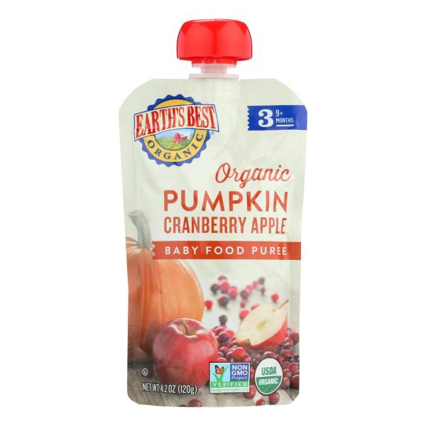 Earth's Best Organic Pumpkin Cranberry Apple Baby Food Puree - Stage 3 - Case of 12 - 4.2 oz. %count(alt)