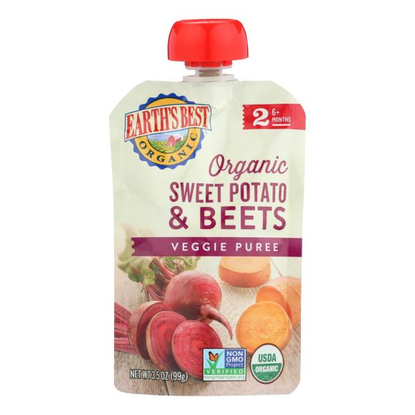 Earth's Best Organic Sweet Potato and Beets Baby Food Puree - Stage 2 - Case of 12 - 3.5 oz. %count(alt)