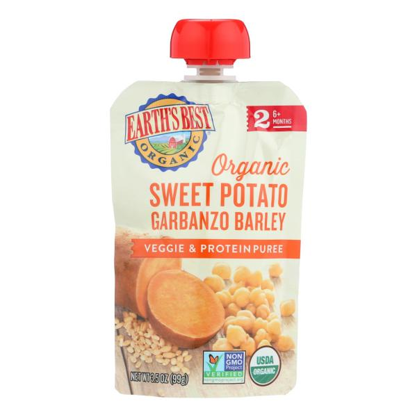 Earth's Best Organic Sweet Potato Garbanzo Barley Veggie and Protein Puree - Stage 2 - Case of 12 - 3.5 oz. %count(alt)