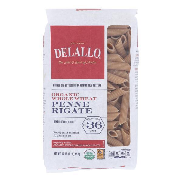 Delallo - Organic Whole Wheat Penne Rigate Pasta - Case of 16 - 1 lb. %count(alt)