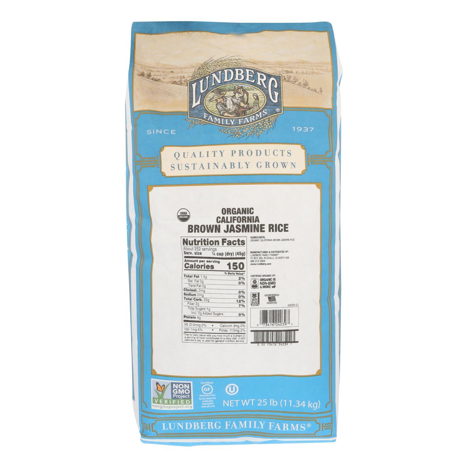 Lundberg Family Farms Organic California Brown Jasmine Rice - Case of 25 lbs %count(alt)