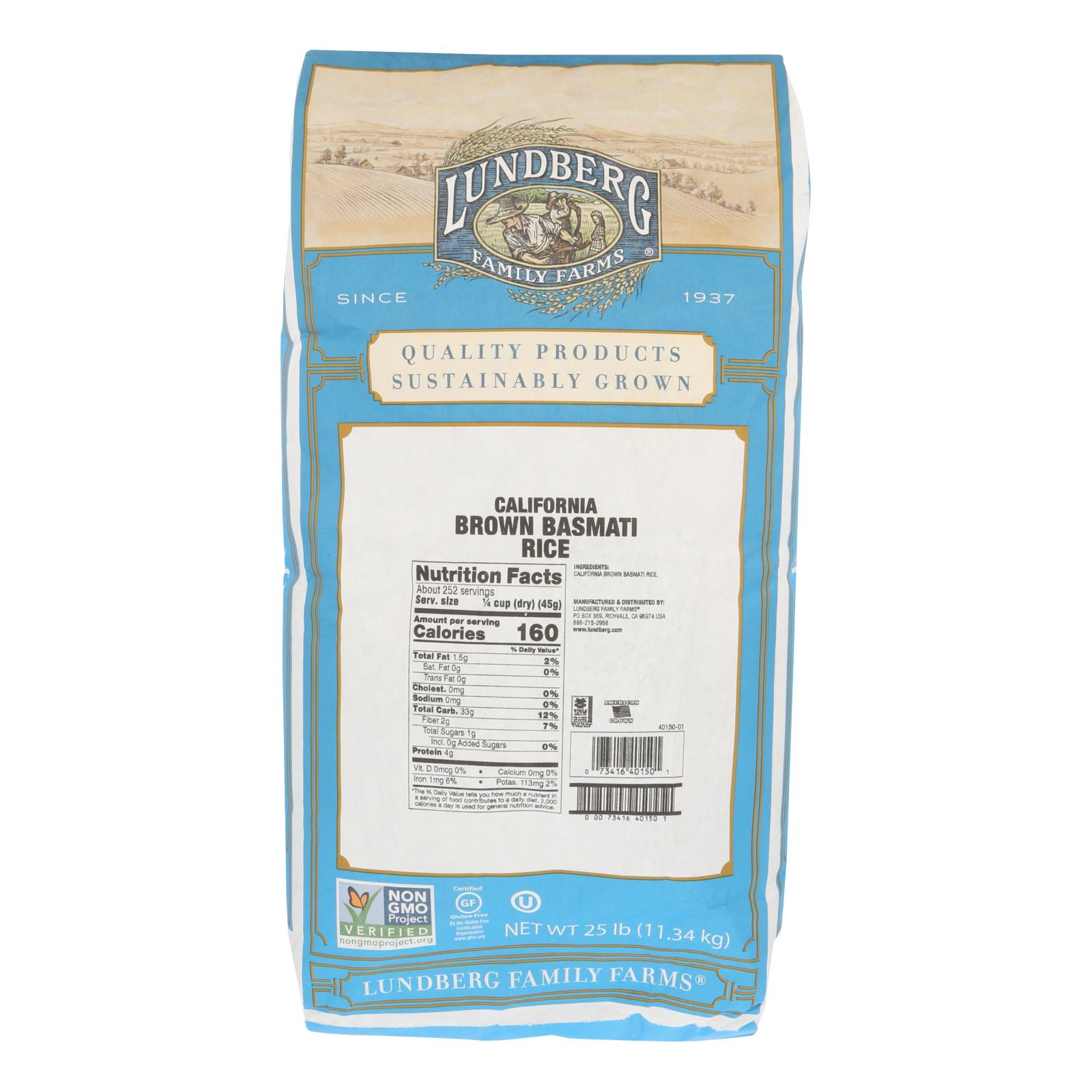 Lundberg Family Farms Brown Basmati Rice Case Of 25 Lbs Organic Vegan Vegetarian And Natural Products Provided By Gooddealforyou Com